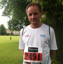 Vic Davies SDN Volunteer before running Shrewsbury Marathon June 2013