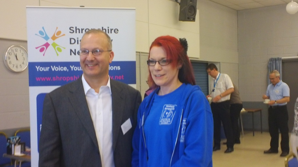 Dr Phil Friend with Lizzie Evans, Fundraising & Publicity Officer from Headway, Shropshire
