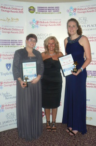 Award winners Chelsy Dixon and Molly Evans with Stephen Sutton's mum, Jane