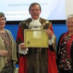 Ruby, Cllr Miles Kenny & Jill Buckley receiving SDN Gold Award
