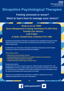 Stress Management & Coping Techniques FLASH Clinics-Oswestry