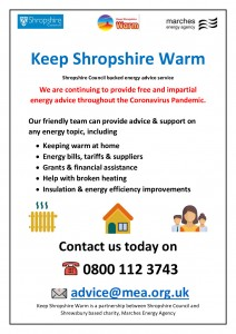 Keep Shropshire Warm Flyer - V2 Covid19